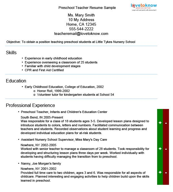 Preschool Teacher Resume Sample  Teaching Resume Skills