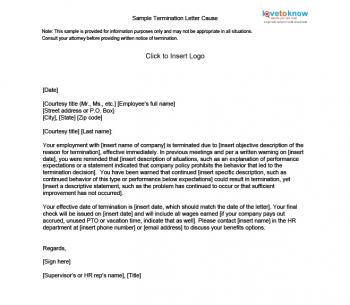 Cause Based Termination Letter  Business Termination Letter Sample