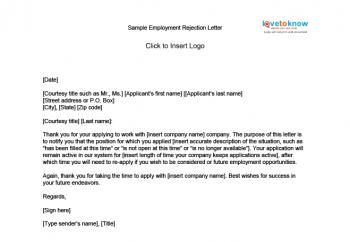 Sample rejection letters lovetoknow employment rejection letter spiritdancerdesigns Choice Image