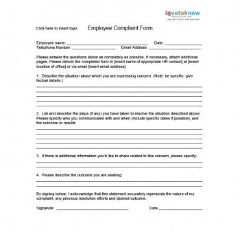 Employee Complaint Form  Customer Complaints Form Template