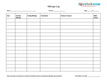 sample mileage log for taxes
