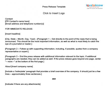 How to write press releases lovetoknow for Template of a press release