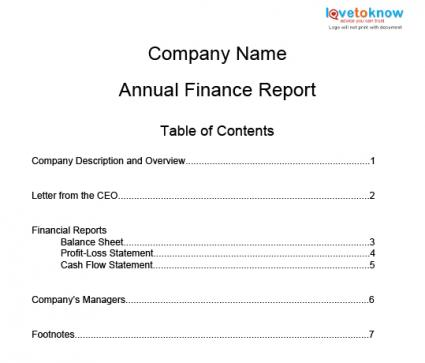 Printable Annual Finance Report Template  Examples Of Financial Reports