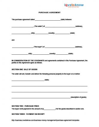 Purchase Agreement Templates Lovetoknow