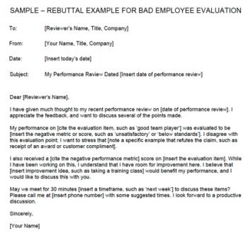 Rebutting a Negative Evaluation