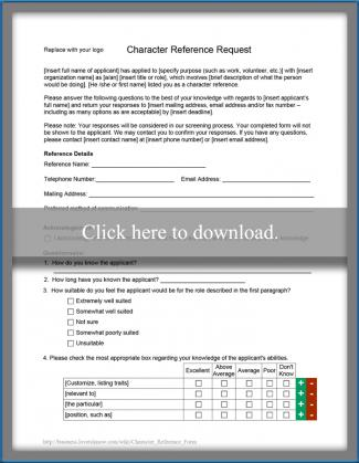 Character Reference Form  Character Reference Form Template