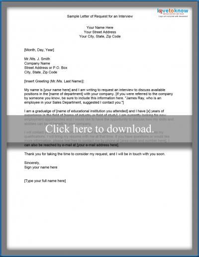 interview request letter sample interview request letter