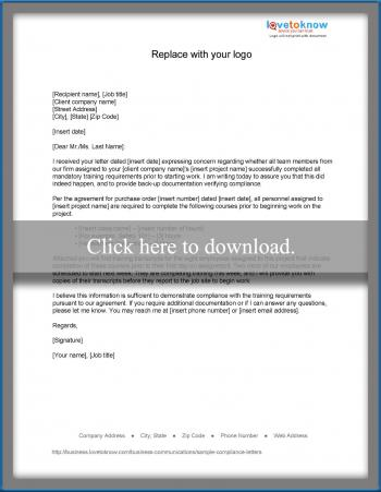 Sample compliance letters response to non compliance notification spiritdancerdesigns Choice Image
