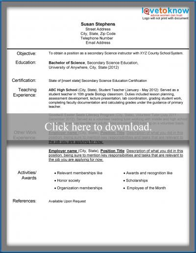 Resume Example For A New Teacher  New Teacher Resume Examples