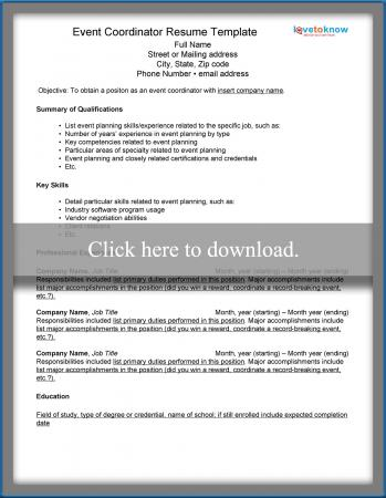 Click Here To Download Resume Template · Event Coordinator Resume Template