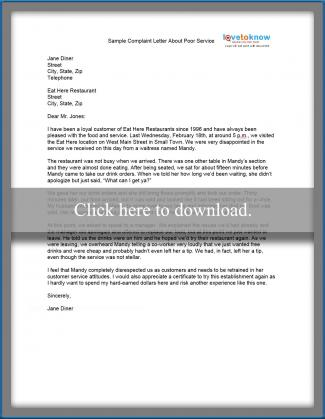 Sample Complaint Letter | LoveToKnow