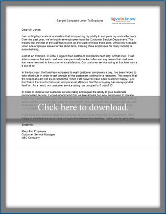 Sample complaint letter sample complaint letter to an employer expocarfo