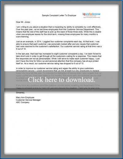 Sample complaint letter lovetoknow sample complaint letter to an employer spiritdancerdesigns Images