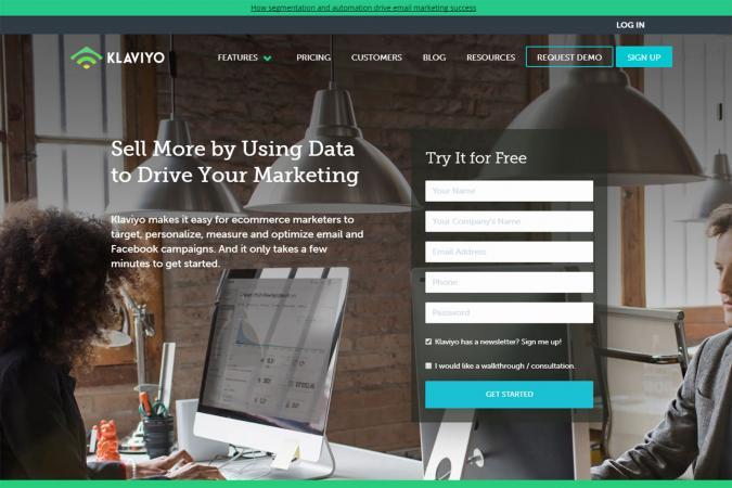Screenshot of Klaviyo