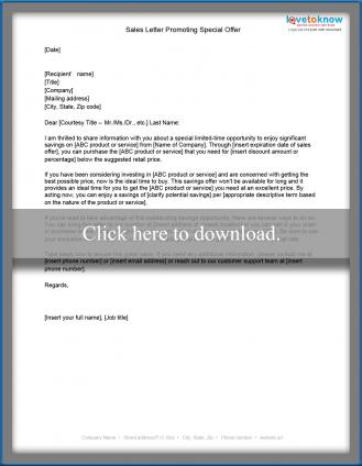 Free Sample Sales Letters Lovetoknow