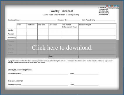 weekly employee timesheet printable pdf