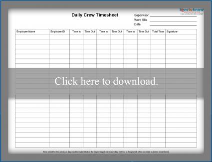 daily group timesheet printable pdf