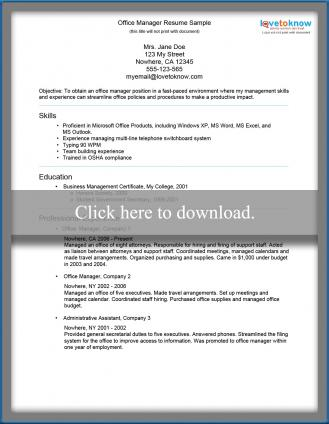 office manager resume 1