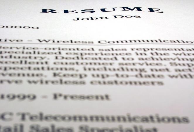 Closeup of printed resume