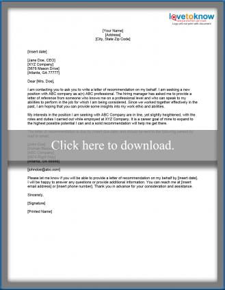 Sample Request For A Letter Of Recommendation - Letter of recommendation request template