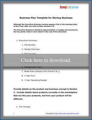 Business Plan Template for Startup
