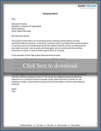 Reference Letter for a Business