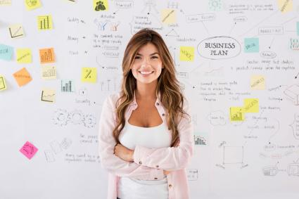Woman standing in front of her business plan board
