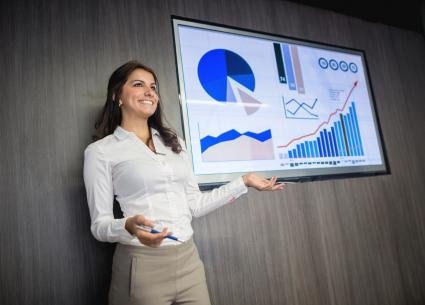 Business woman with chart