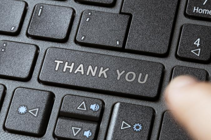 Thank you - keyboard pc button push