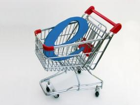Concept image of e-commerce in a shopping cart