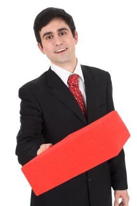 Manager holding recognition gift for an employee