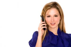 Woman conducting Telemarketing