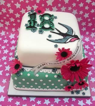 18th birthday beautiful bird cake