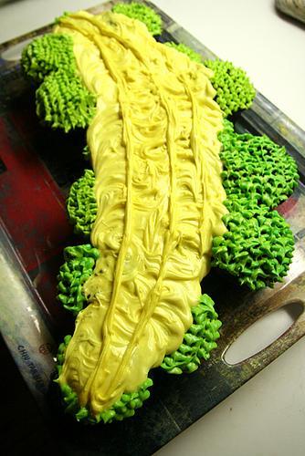 A banana cupcake cake.