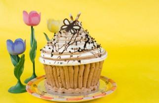 Giant cake shaped like a cupcake