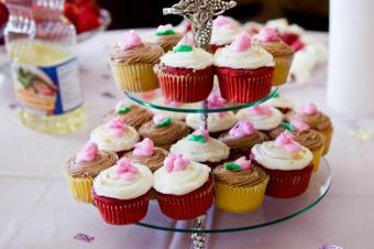 A double-level cupcake tower