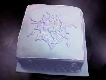 A blank cake with a white embroidered design.