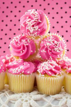 A stack of pink cupcakes