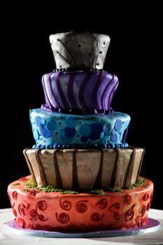 A five-tier, topsy-turvy wedding cake