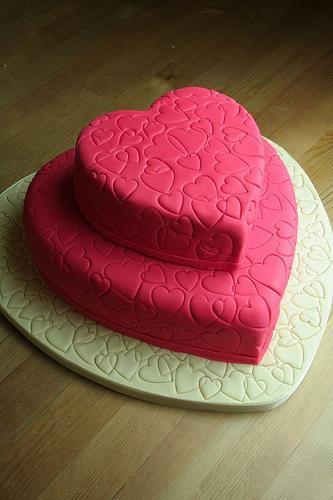 Three-tier heart cake