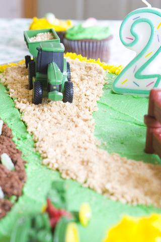 Tractor theme birthday cake