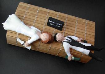 Drunk Bride and Groom Wedding Cake Topper