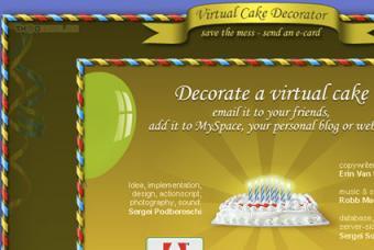 Screenshot of Virtual Cake Decorator website