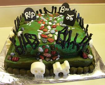 rectangle graveyard cake