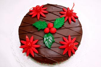 Holly and Flower Cake