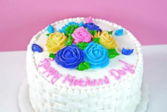 Basketweave Rose Cake