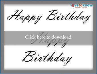 script Happy Birthday pattern