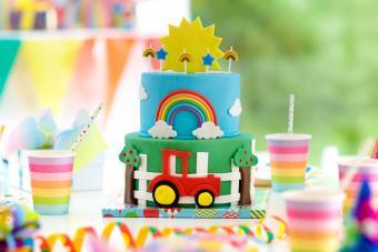 Tractor Rainbow Cake