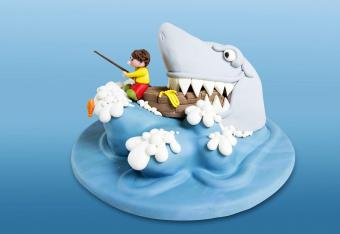 Funny shark fishing cake