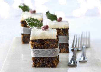 Squares of Christmas cake adorned with a cranberry